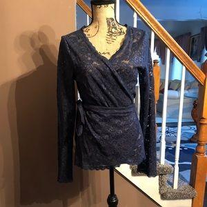 Gorgeous Navy Blue Lace Wrap Blouse